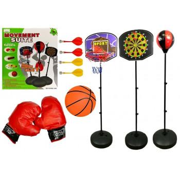 Zestaw Gier Sportowych 3w1 Koszykówka Rzutki Boks