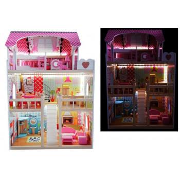 Domek dla lalek Drewniany Melisa Różowy LED