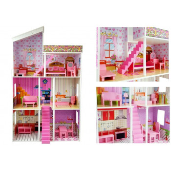 Domek dla lalek Drewniany Villa Klaudia Dwa Piętra