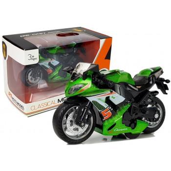 Motocykl z Naciągiem i Dźwiękiem 1:14 Zielony