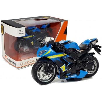 Motocykl z Naciągiem i Dźwiękiem 1:14 Niebieski