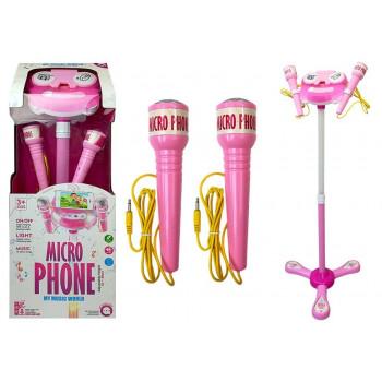 Mikrofon Zestaw Karaoke Różowy Statyw Telefon