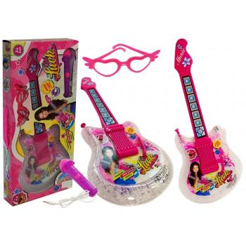 Zestaw Gitara Dziecięca z mikrofonem i okularami Różowa