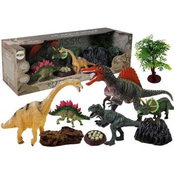 Dinozaury Zestaw Figurek 5 sztuk z Akcesoriami, Kamienie, Drzewko