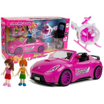 Zestaw Dla Dziewczynki Różowe Auto Helikopter Stolik,Krzesełka Lalka