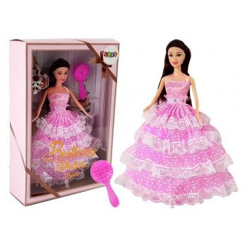 Lalka Ciemnowłosa Księżniczka Różowa Suknia Szczotka 28 cm