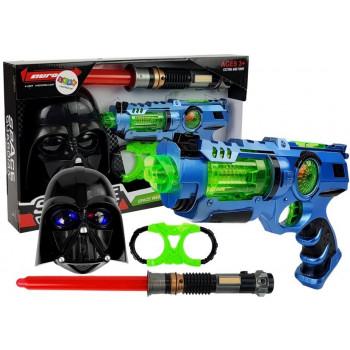 Pistolet Laserowy Miecz Świetlny Maska Kajdanki Zestaw z Akcesoriami