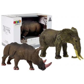 Figurka Zwierzęta Afrykańskie Nosorożec Słoń