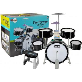 Perkusja Muzyczny Zestaw 5 Bębnów Krzesło Talerz Czarna