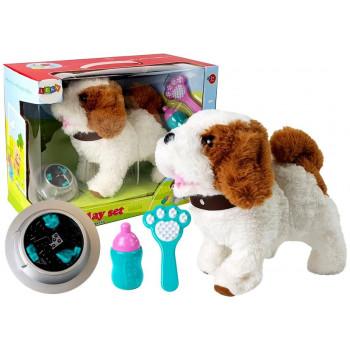 Pluszowy Pies na Baterie Biały w Łaty Rusza Ogonem Dźwięk