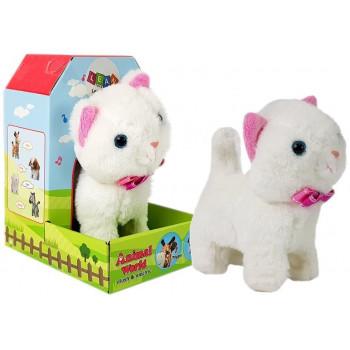 Interaktywny Kot na Baterie Biały Chodzi i Śpiewa Dźwięk