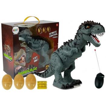 Dinozaur Zdalnie Sterowany R/C Szary z Dźwiękiem Znosi Jaja Projektor
