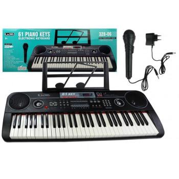 Keyboard Organy 328-06 Mikrofon Zasilacz Czarny