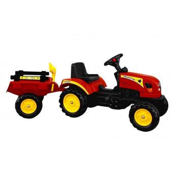 Traktor Branson z Przyczepą czerwony Pedały 135 cm