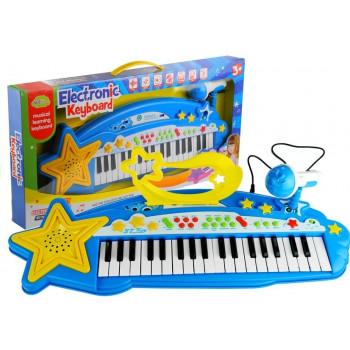 Duży Keyboard 37 Klawiszy MP3 + Mikrofon Niebieski