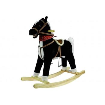 Koń Na Biegunach 74cm Czarno-biały