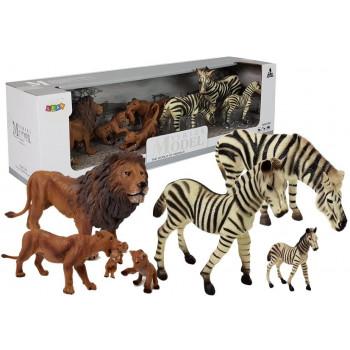 Zestaw Figurek Zwierzęta Safari Zebry Lew Lwica Lwiątka
