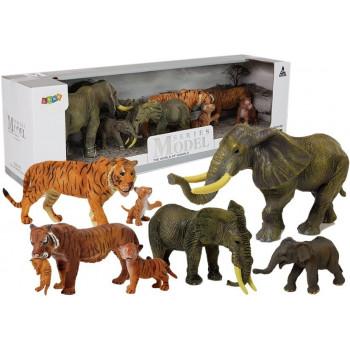 Zestaw Figurek Zwierzęta Safari Słoń Słonica Słoniątko Tygrys