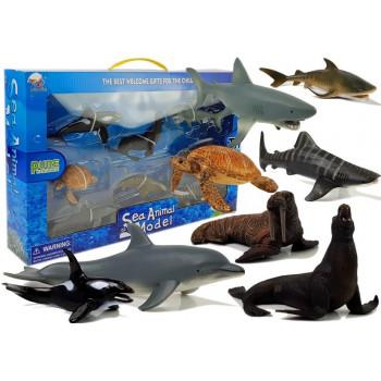 Figurki Edukacyjne Morskie Zwierzęta 8 Elementów Rekiny Foka Delfin Mors Żółw