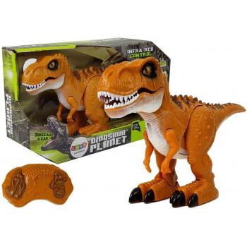 Dinozaur Zdalnie Sterowany R/C Brąz Dźwięk Światło Tyranozaur