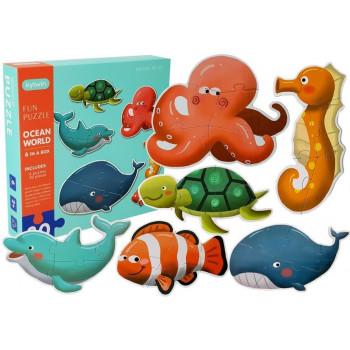 Puzzle Wodny Świat 30 elementów 6 zwierząt Delfin Żółw Rybka