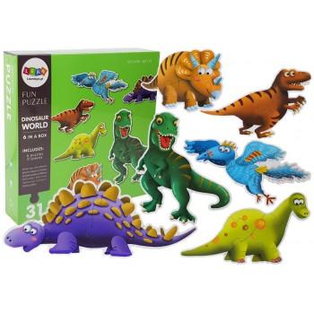 Puzzle Świat Dinozaurów 31 elementów 6 Dinozaurów Diplodok Tyranozaur