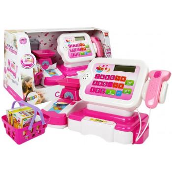Kasa Fiskalna Różowa Waga Skaner Kalkulator