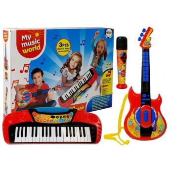 Zestaw Muzyczny 3 w 1 Gitara Keyboard Mikrofon