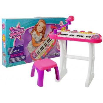 Keyboard ze Statywem Krzesełko Mikrofon Dźwięk Światła Różowy