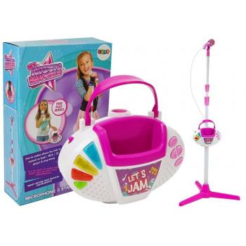 Mikrofon ze Statywem Światła Dźwięk Diody MP3 Karaoke Różowy