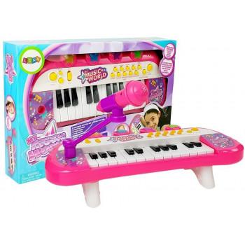 Keyboard Pianinko 24 Klawisze USB Mikrofon Różowy
