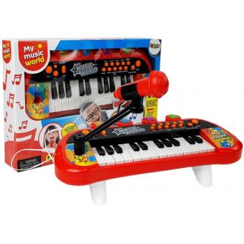 Keyboard Pianinko 24 Klawisze USB Mikrofon Czerwony