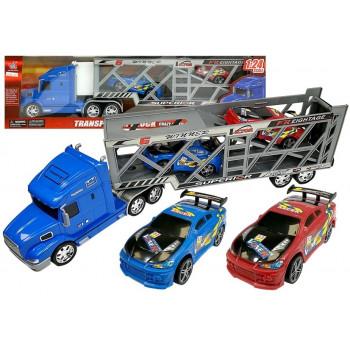 Zestaw Pojazdów Ciężarówka Transporter 1:24 z samochodami