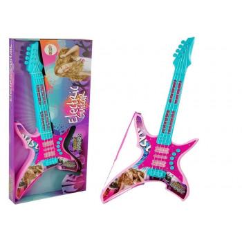 Gitara Elektryczna ze Światłami i Dźwiękami Różowa 62 cm