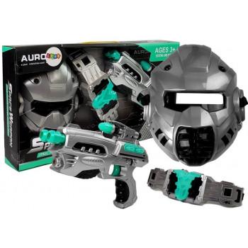 Zestaw Kosmiczny Pistolet Maska Pas Świetlny Dźwięk