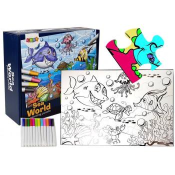 Puzzle Do Kolorowania Świat Wodny Pisaki 24 elem