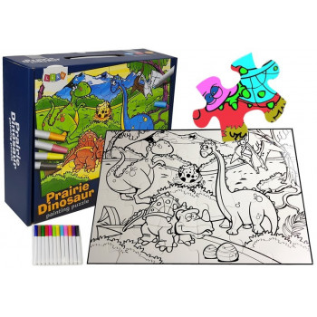 Puzzle Do Kolorowania Dinozaury Pisaki 24 elem