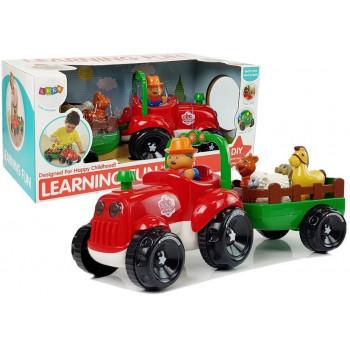 Traktor z Przyczepką, Zwierzętami Dla Niemowląt  na Baterie Światła Dźwięk