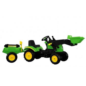 Traktor Herman z Przyczepą i Łyżką Zielony 165 cm