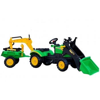 Traktor z Przyczepą i Łyżką Koparka  Benson Zielony