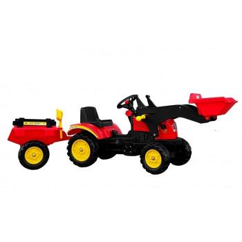 Traktor Herman z Przyczepą i Łyżką czerwony165 cm