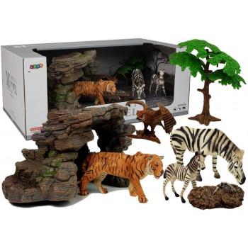Zestaw Figurek Dzikie Zwierzęta Zebra Tygrys