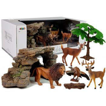 Zestaw Figurek Dzikie Zwierzęta Lew Sarna
