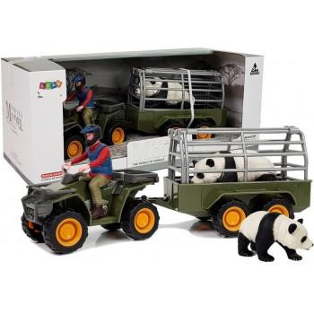 Quad z Przyczepką Transporter Figurki Panda