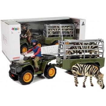 Quad z Przyczepką Transporter  Figurki Zebra