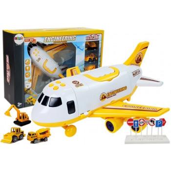 Samolot Transportowy Garaż Maszyn Budowlanych z Naciągiem 1:64 Dźwięk Światła