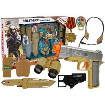 Zestaw Wojskowy z Akcesoriami Pistolet Nóż Lornetka Słuchawki Gwizdek Krótkofalówka