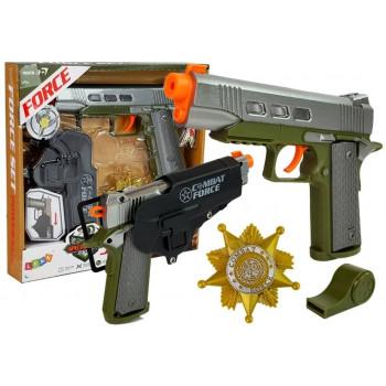 Zestaw Policyjny Pistolet 20cm Odznaka Gwizdek Kabura Efekty Świetlne Dźwięk