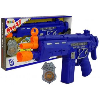 Zestaw Policyjny Pistolet Odznaka Granatowy Dźwięk Efekty Świetlne 37cm