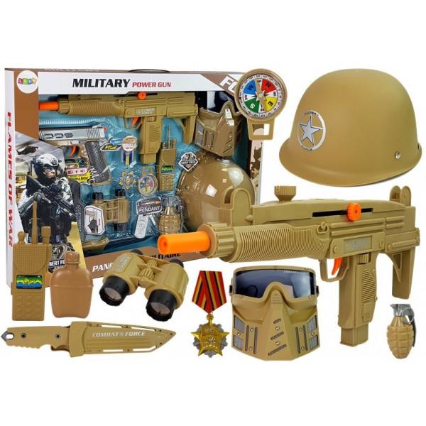 Zestaw Wojskowy Pistolety Broń z Maską Hełmem Granat Dźwięk